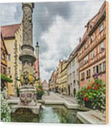 Historic Town Of Rothenburg Ob Der Tauber Wood Print