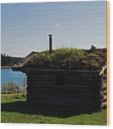 Historic Trappers Log Cabin Wood Print