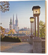 Historic Zagreb Towers Sunrise View Wood Print