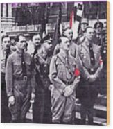 Hitler With Nazi Entourage Hess And Himmler In 2nd Row Circa 1935 Color Added 2016 Wood Print