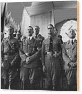 Hitler With Nazi Party Bigwigs Julius Streicher On Far Right C. 1935 Color Added 2016 Wood Print