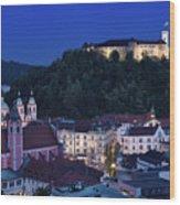 Hlltop Ljubljana Castle Overlooking The Old Town Of Ljubljana Ca Wood Print