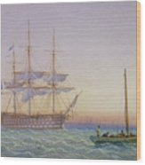 Hm Frigates At Anchor Wood Print by John Joy