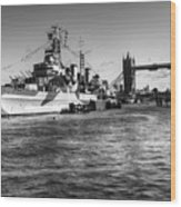 Hms Belfast And Tower Bridge 2 In Black And White Wood Print