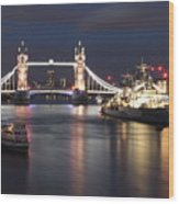 Hms Belfast And Tower Bridge Wood Print