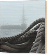 Hms Bounty In The Eastport Fog Wood Print