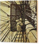 Hms Bounty - Up The Mast - 2 Wood Print