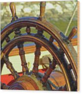 Hms Bounty Wheel Wood Print