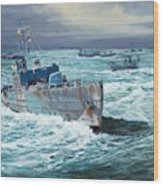 Hms Compass Rose Escorting North Atlantic Convoy Wood Print