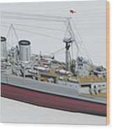 Hms Hood 1937 - Stern To Bow Tech Wood Print