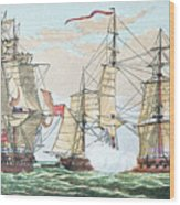 Hms Shannon Vs The American Chesapeake Wood Print