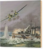 Hms Ulysses Attacked By Heinkel IIis Off North Cape Wood Print