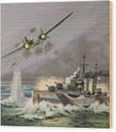 Hms Ulysses Attacked By Heinkel IIis Off North Cape Wood Print