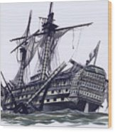 Hms Victory After The Battle Of Trafalgar, With Mizzen Topmast Shot Away Wood Print
