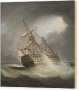 H.m.s. Victory In Full Sail And In A Squall Wood Print