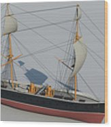 Hms Warrior 1860 - Bow To Stern Technical Wood Print