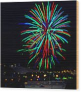 Hobart New Years Eve Fireworks Wood Print