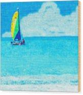 Hobie Sailing Off Lido Beach Coast Wood Print