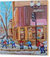 Hockey At Beautys Deli Wood Print by Carole Spandau