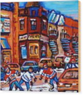 Hockey At Fairmount Bagel Wood Print