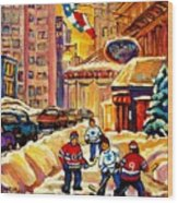 Hockey Fever Hits Montreal Bigtime Wood Print