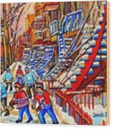 Hockey Game Near The Red Staircase Wood Print by Carole Spandau