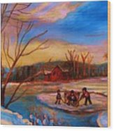 Hockey Game On Frozen Pond Wood Print