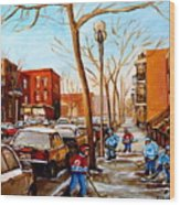 Hockey On St Urbain Street Wood Print