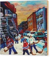 Hockey Paintings Of Montreal St Urbain Street City Scenes Wood Print