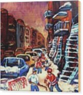 Hockey Paintings Of Montreal St Urbain Street Winterscene Wood Print