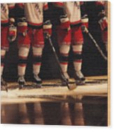 Hockey Reflection Wood Print