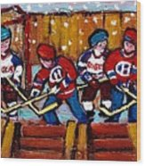 Hockey Rink Paintings New York Rangers Vs Habs Original Six Teams Hockey Winter Scene Carole Spandau Wood Print