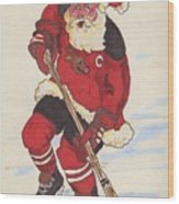 Hockey Santa Wood Print