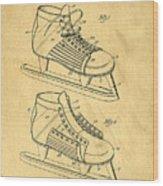 Hockey Skates Patent Art Blueprint Drawing Wood Print