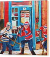 Hockey Sticks In Action Wood Print