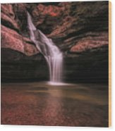 Hocking Hills Cedar Falls Long Exposure Wood Print