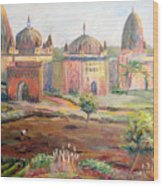 Hoeing By Hand In Orchha India Wood Print
