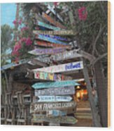 Hogfish Bar And Grill Directional Sign Wood Print