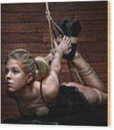 Hogtie - Tied Up Girl - Fine Art Of Bondage Wood Print by Rod Meier