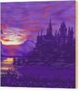 Hogwarts In Purple Wood Print
