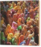 Holi India Wood Print by Tayseer AL-Hamad