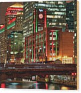 Holiday Colors Along Chicago River Wood Print