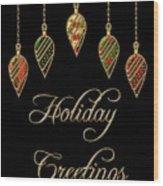 Holiday Greetings Merry Christmas Wood Print