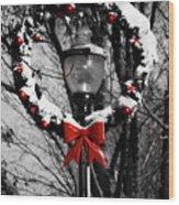 Holiday Lamp Post Wood Print