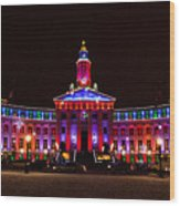 Holiday Light Panorama Of The Denver City And County Building Wood Print