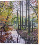 Holiday Park Lake At Dusk Wood Print