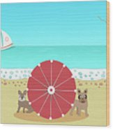 Holiday Romance Behind The Red Umbrella Wood Print