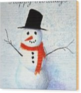 Holiday Snowman Wood Print