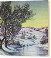 Holiday Winter Snow Scene Children Skating On Frozen Pond Wood Print