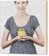 Holistic Naturopath Holding Jar Of Homemade Spread Wood Print